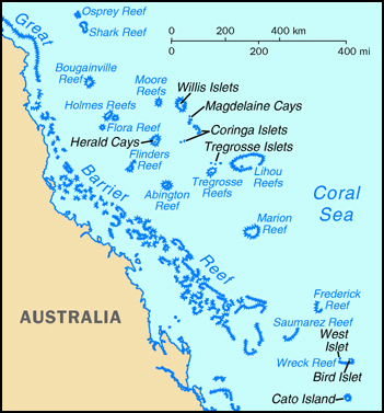 Maps of Coral Sea Islands | Map Library | Maps of the World