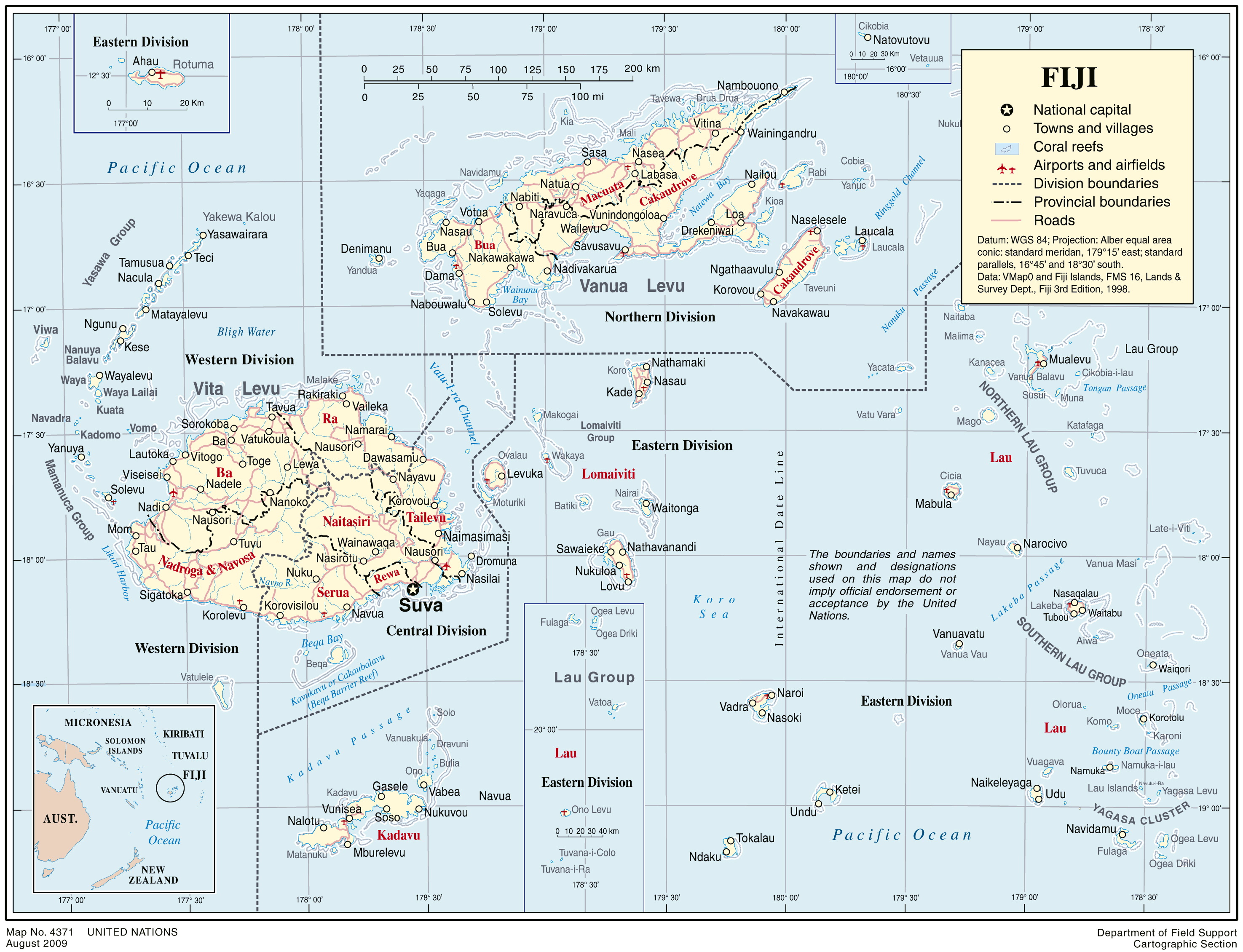 full political map of fiji