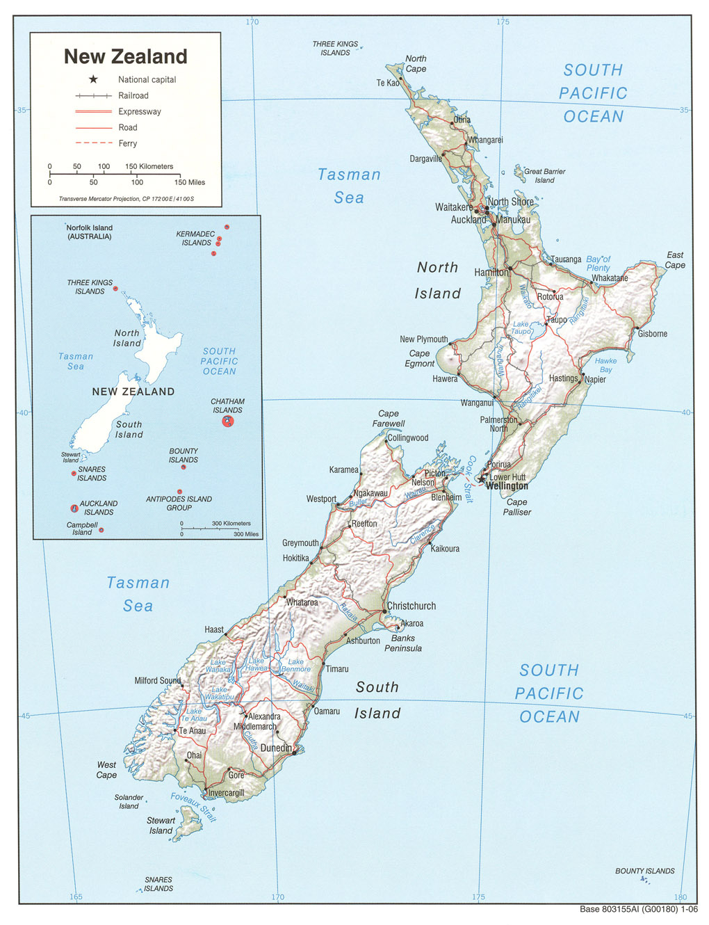 large detailed political and relief map of new zealand with roads and cities