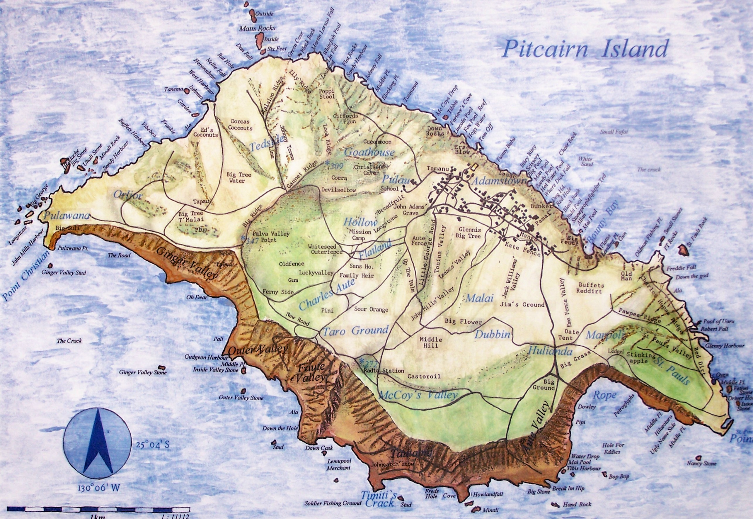 large detailed road map of pitcairn island