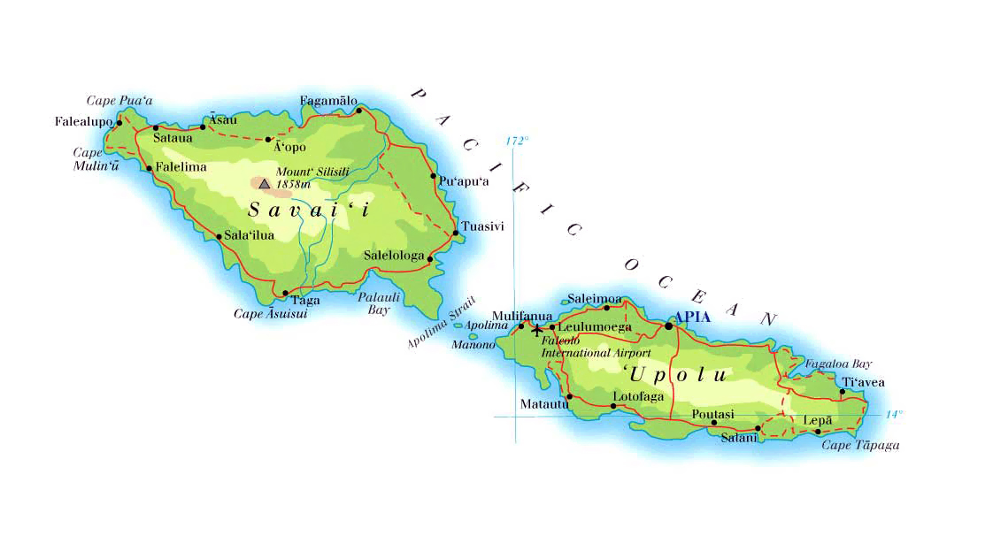 detailed physical map of samoa with roads and cities