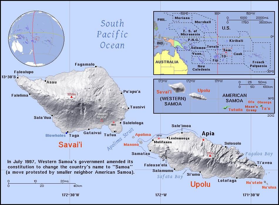 full political map of samoa
