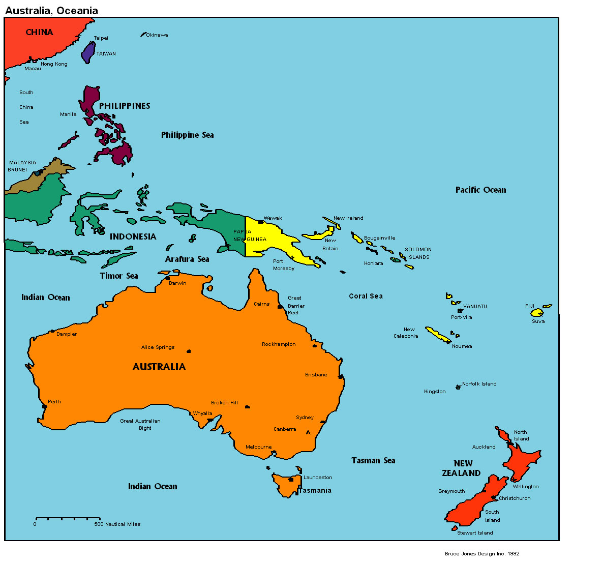 Maps of Australia and Oceania Map Library – Political Map of Australia with Capitals