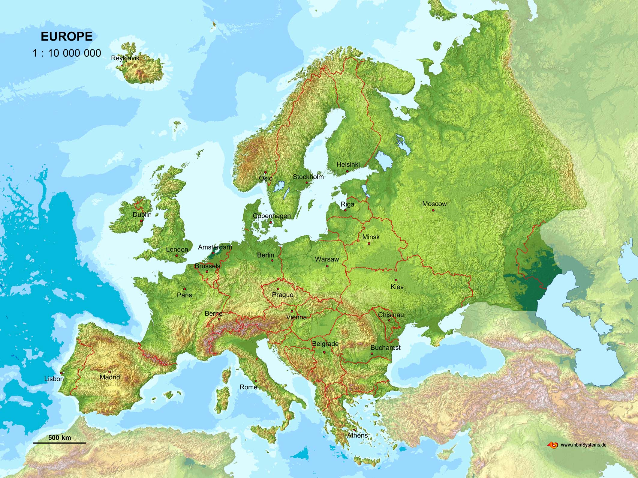 large detailed relief map of europe