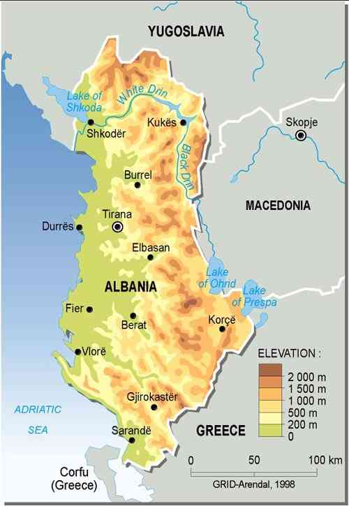 Maps Of Albania Map Library Maps Of The World - Albania physical map 2000