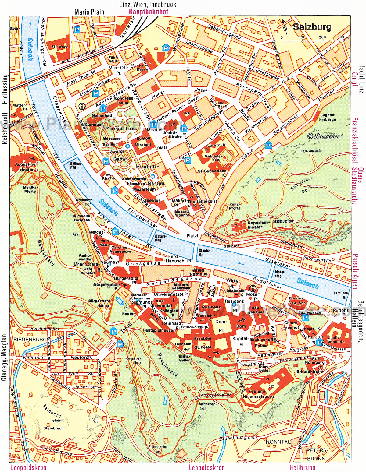 detailed tourist map of salzburg city