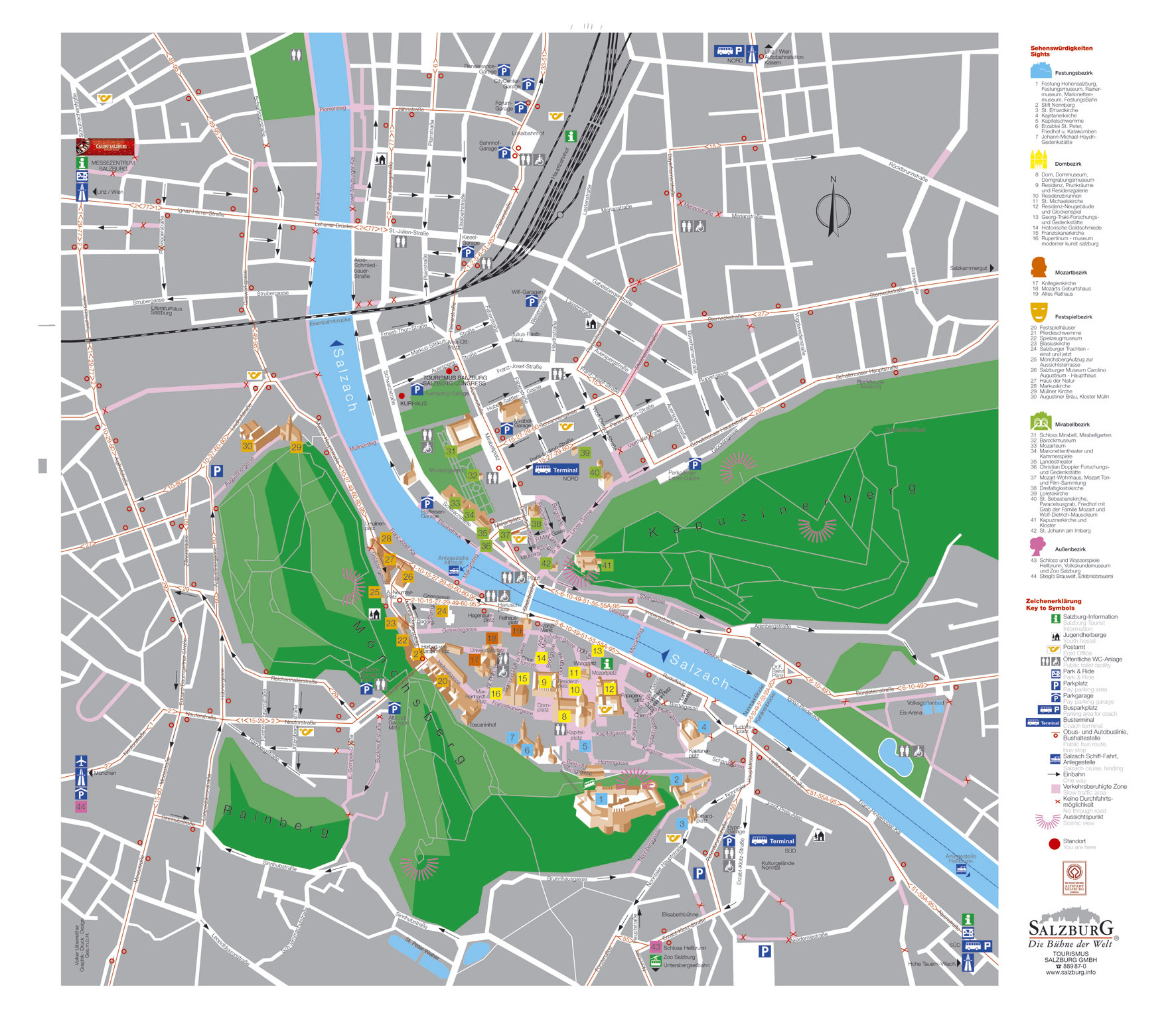 large detailed tourist map of salzburg city