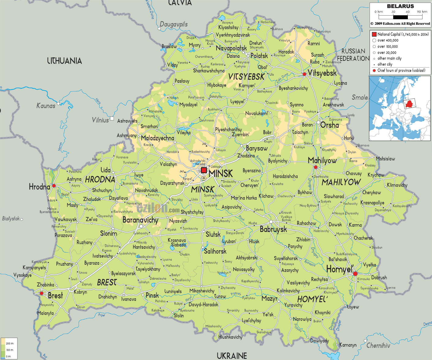 Maps of belarus map library maps of the world large detailed physical and road map of belarus with all cities and airports gumiabroncs Choice Image