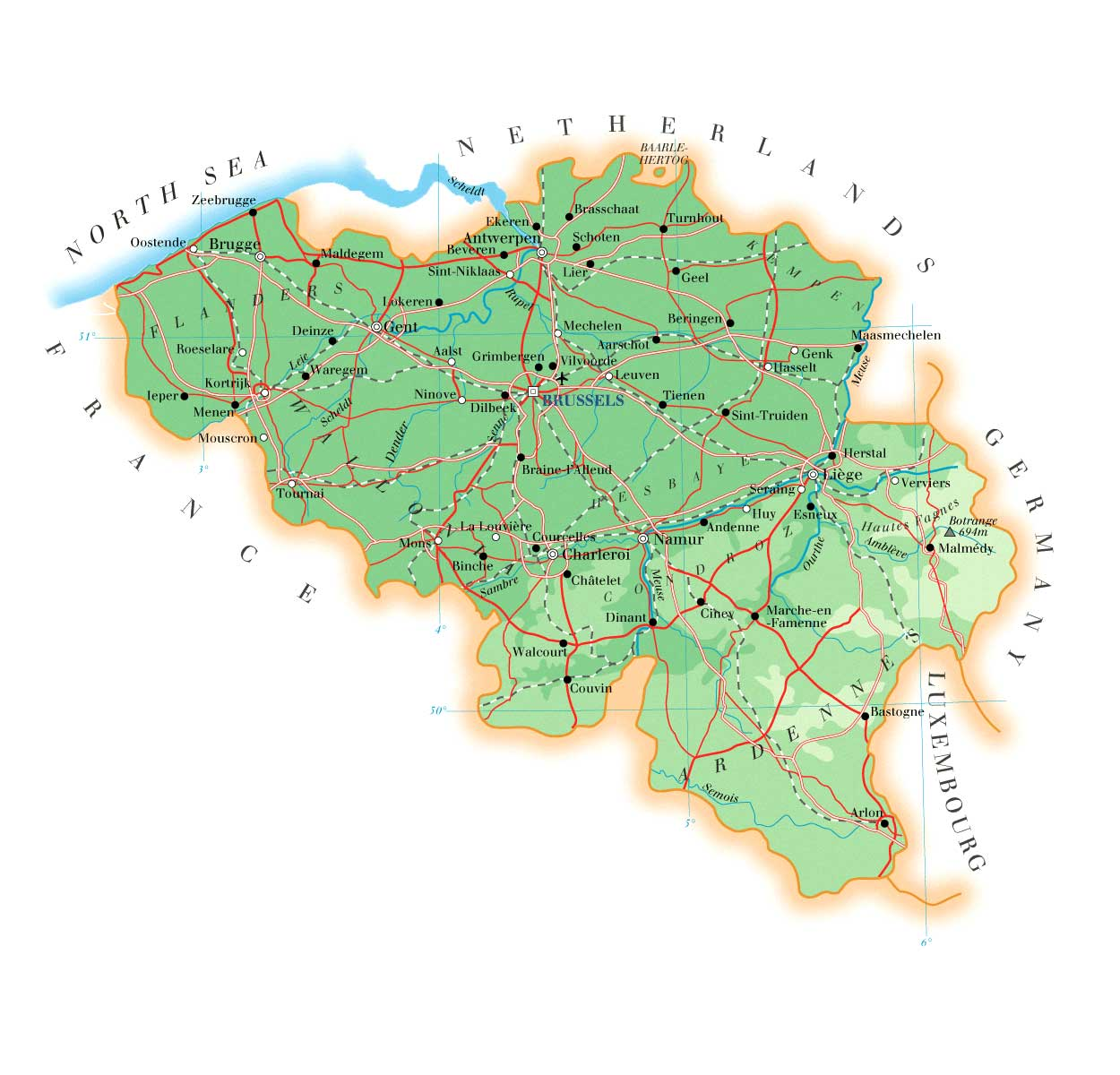 detailed physical map of belgium with all roads cities and airports