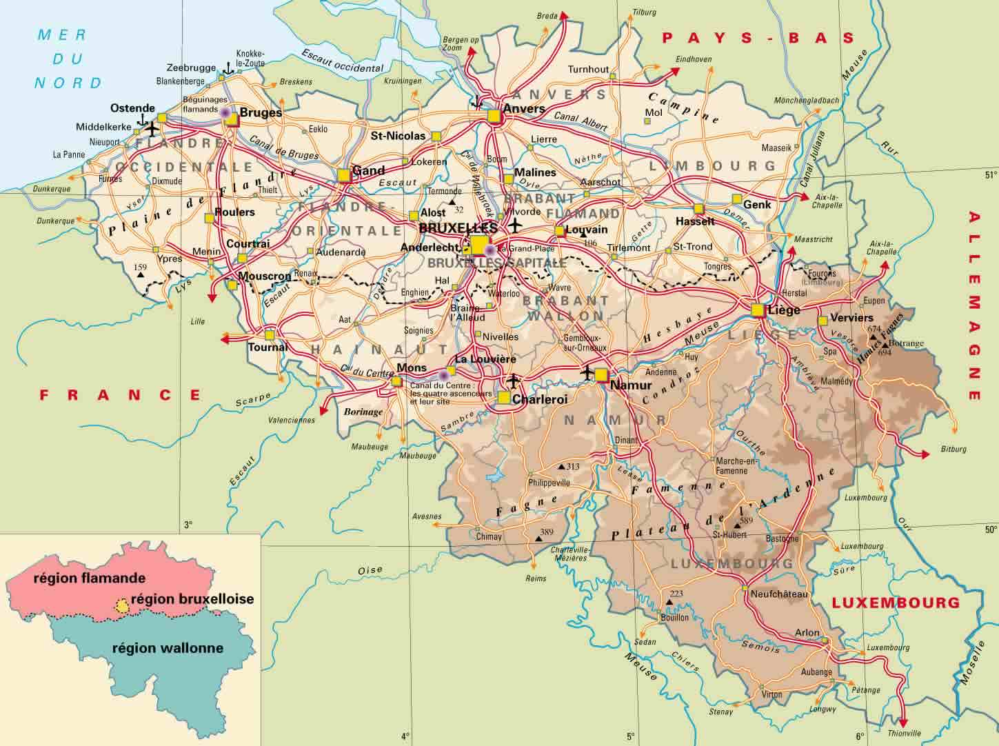 physical map of belgium with roads and cities