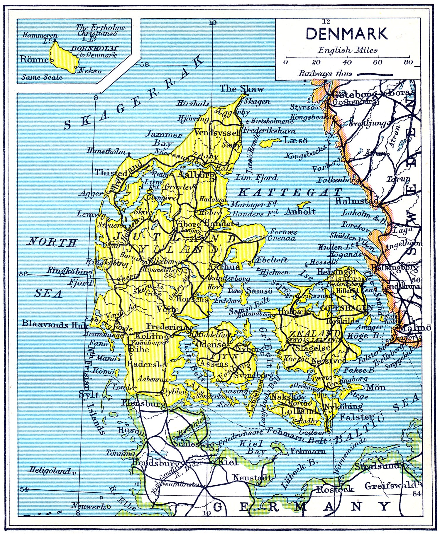 Maps of denmark map library maps of the world large detailed old road map of denmark 1941 gumiabroncs Image collections