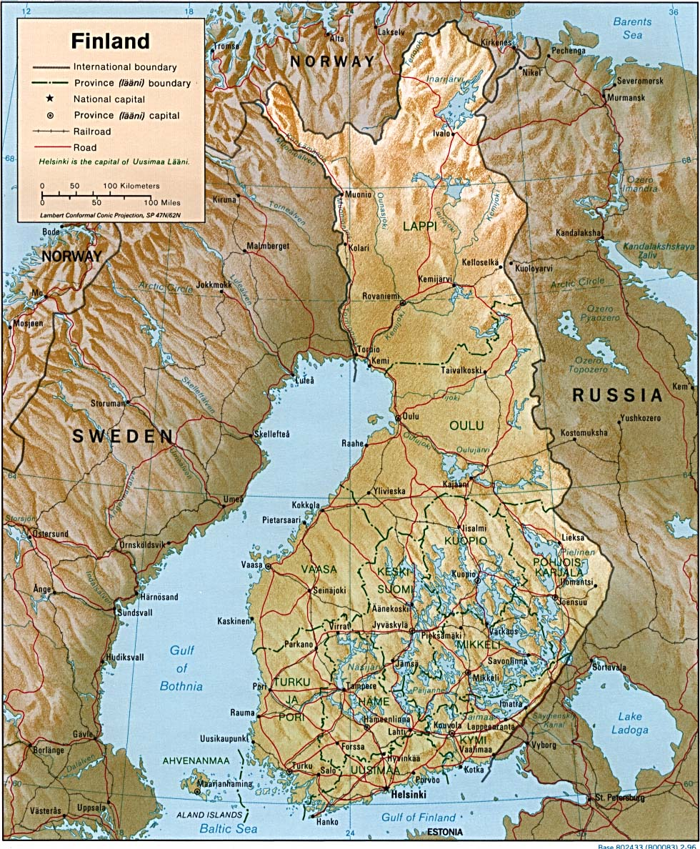 Maps of finland map library maps of the world detailed administrative map of finland with roads and relief gumiabroncs Image collections
