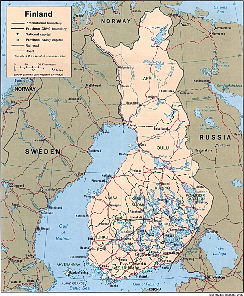 Maps of finland map library maps of the world large detailed political map of finland with roads and cities gumiabroncs Image collections