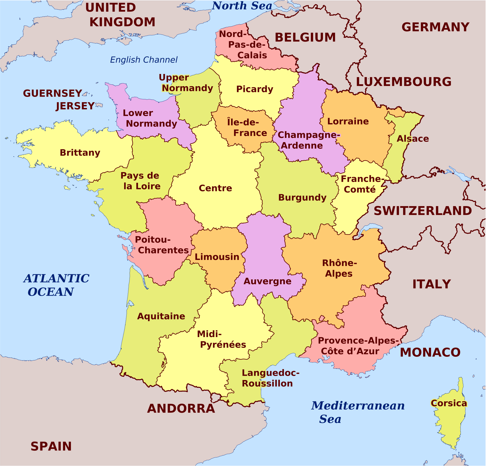 Map Of France In English.Maps Of France Map Library Maps Of The World