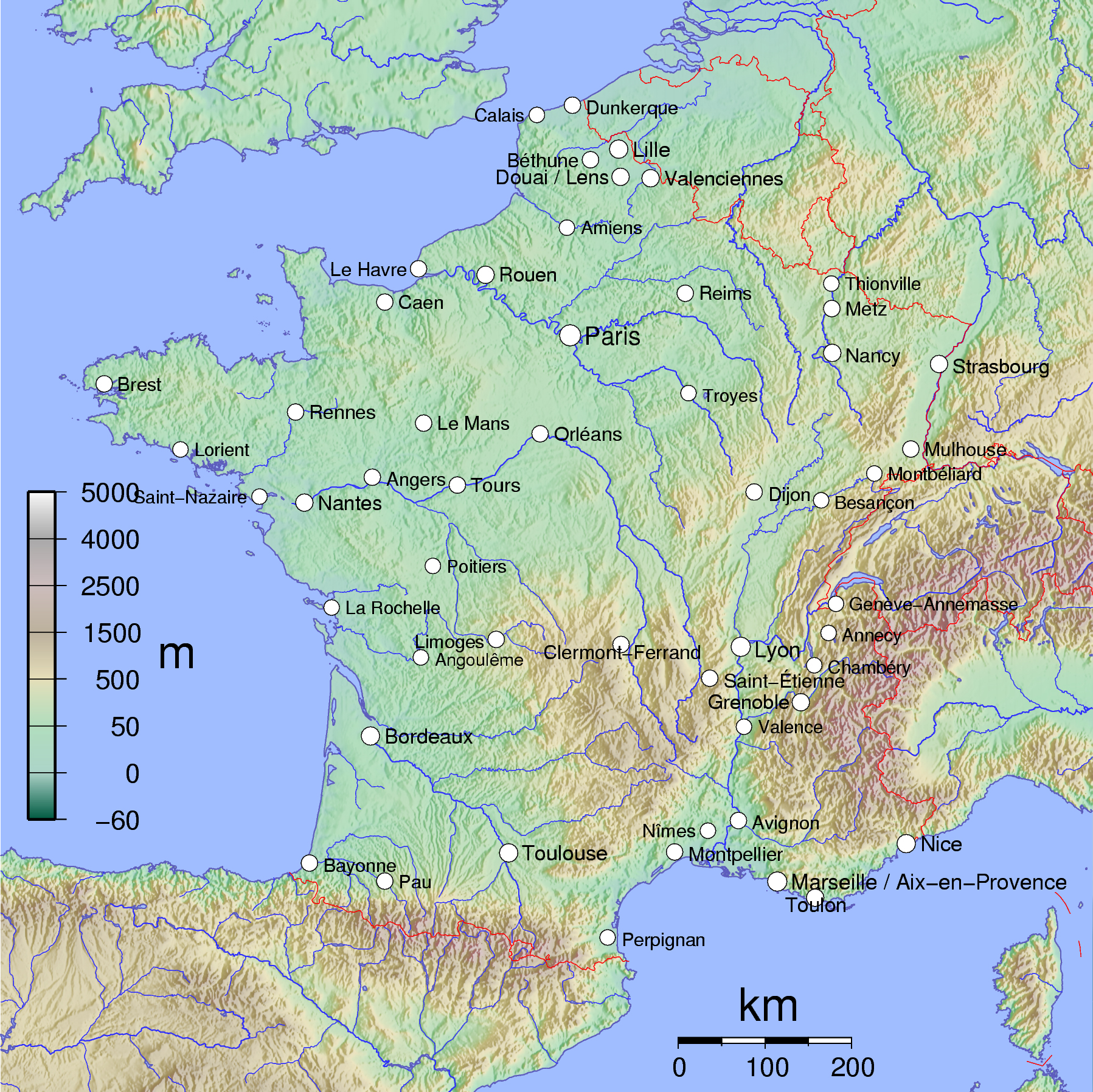 Large Detailed Physical Map Of France.