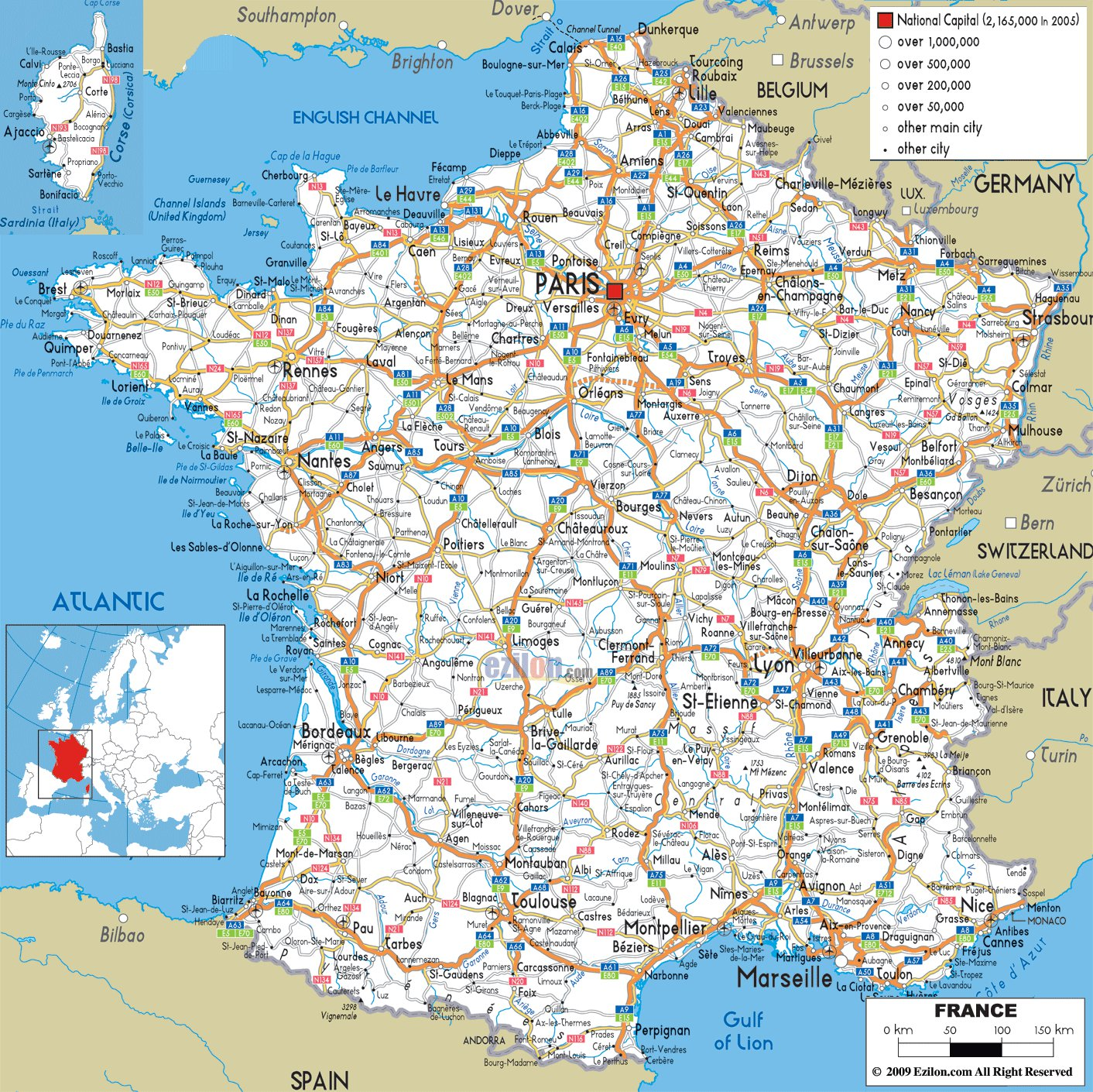 Maps of france map library maps of the world large detailed road map of france with all cities and airports gumiabroncs Image collections