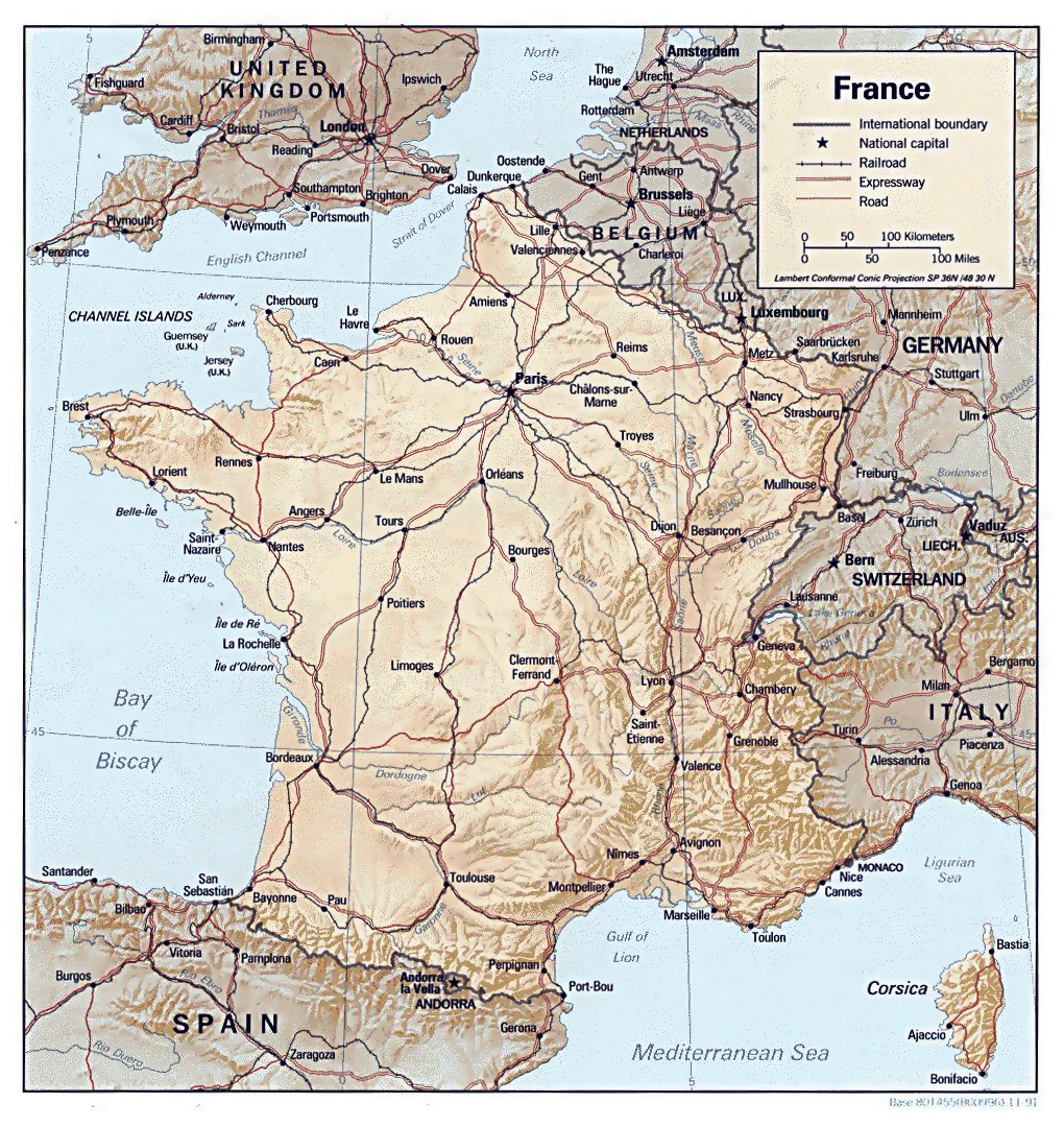 Maps of france map library maps of the world large detailed road relief and political map of france gumiabroncs Gallery