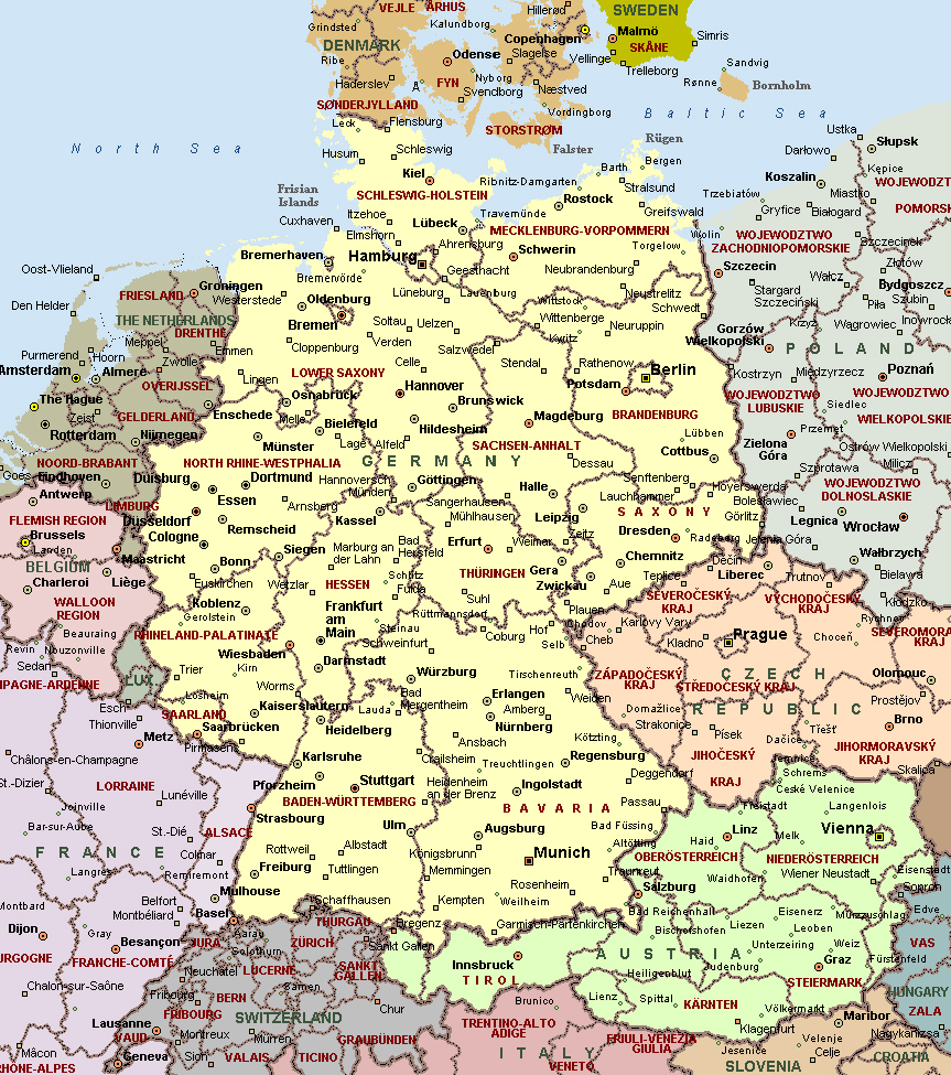 cities of germany on detailed map