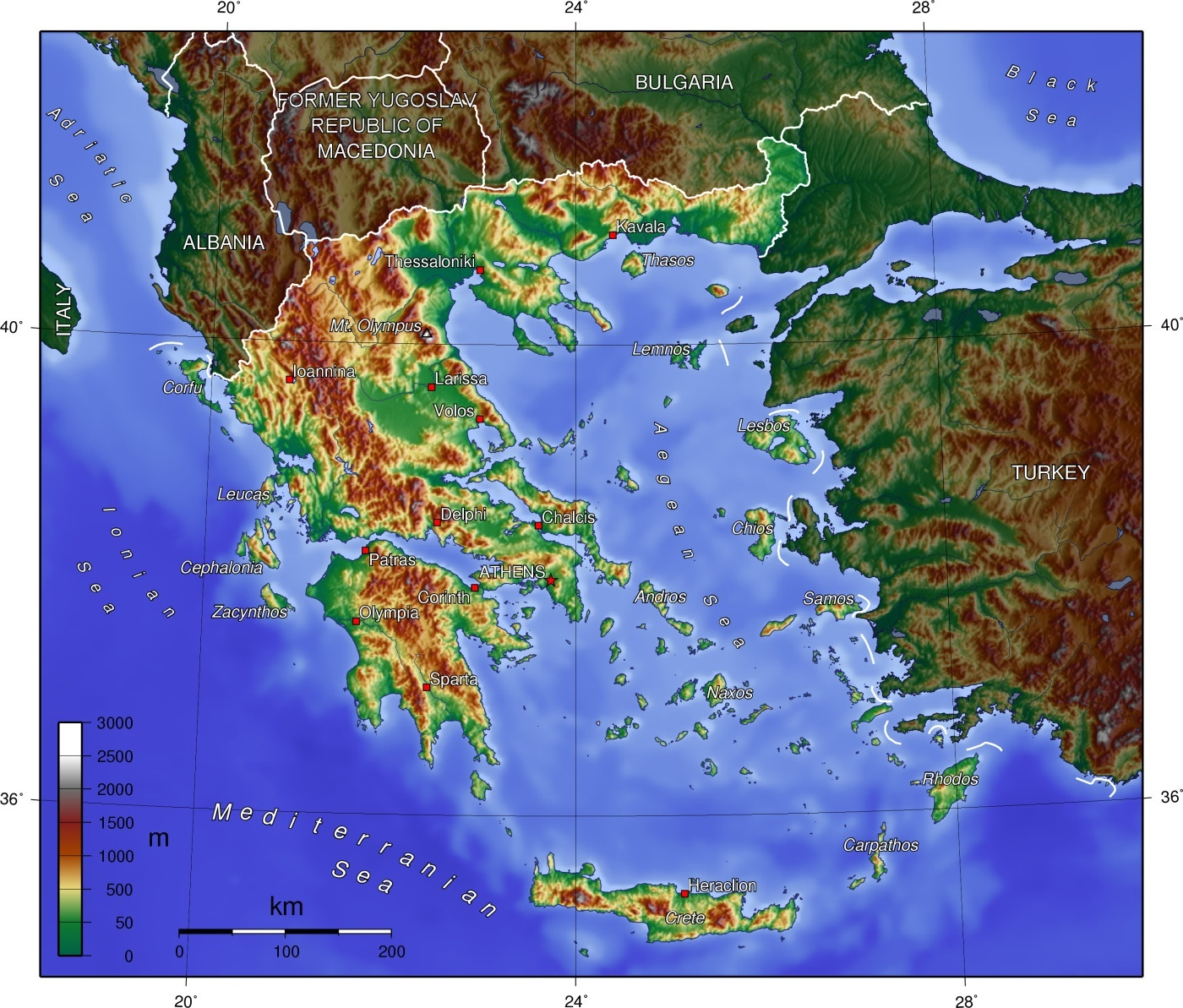 Maps of Greece | Map Liry | Maps of the World Detailed Map Of Greece on