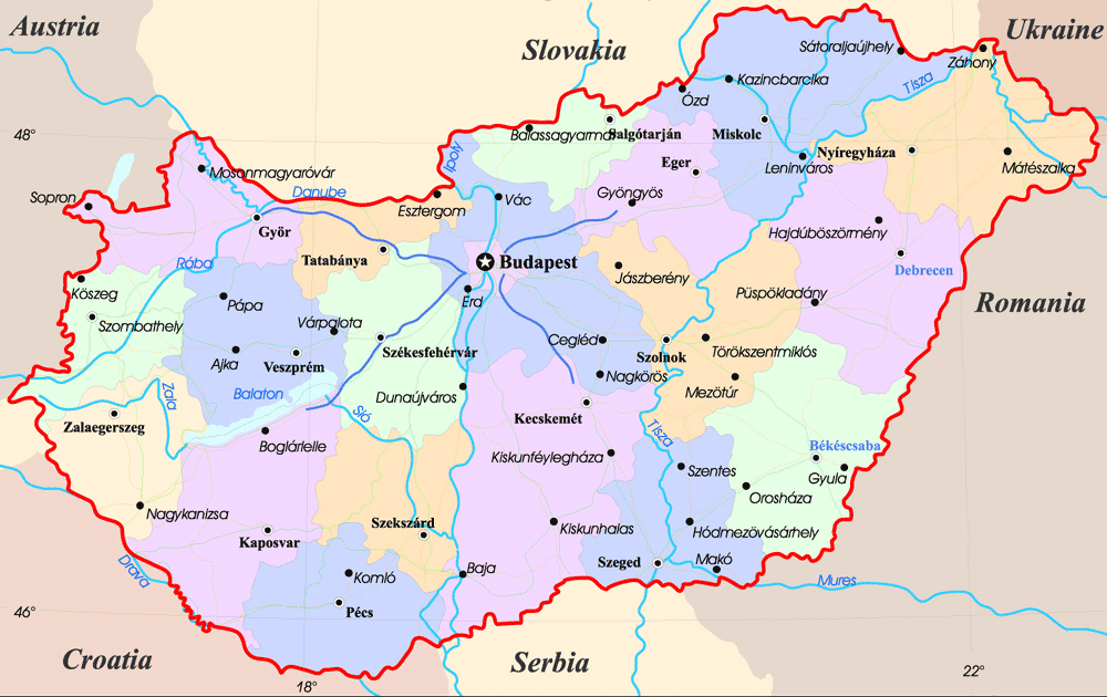 Maps of hungary map library maps of the world administrative map of hungary gumiabroncs Choice Image