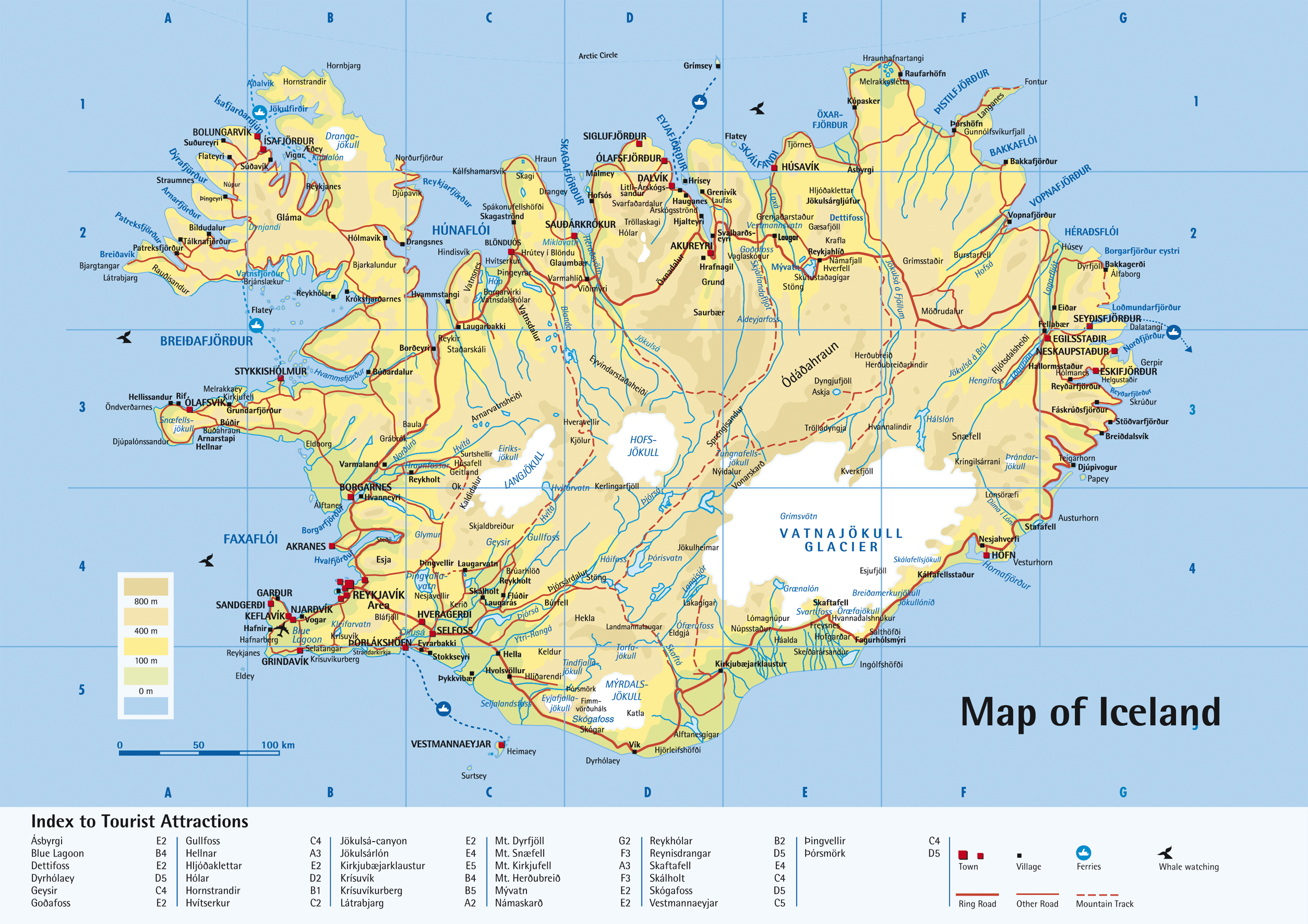 detailed road map of iceland