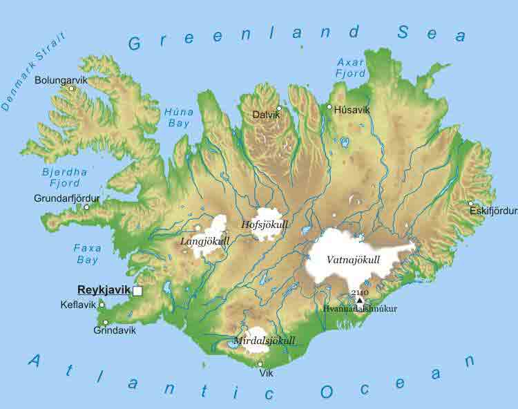 Topographic Map Of Iceland.Maps Of Iceland Map Library Maps Of The World