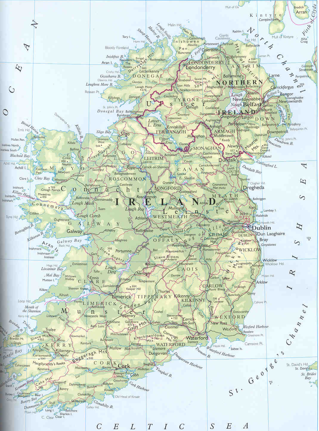 Maps Of Ireland Map Library Maps Of The World - Physical map of ireland