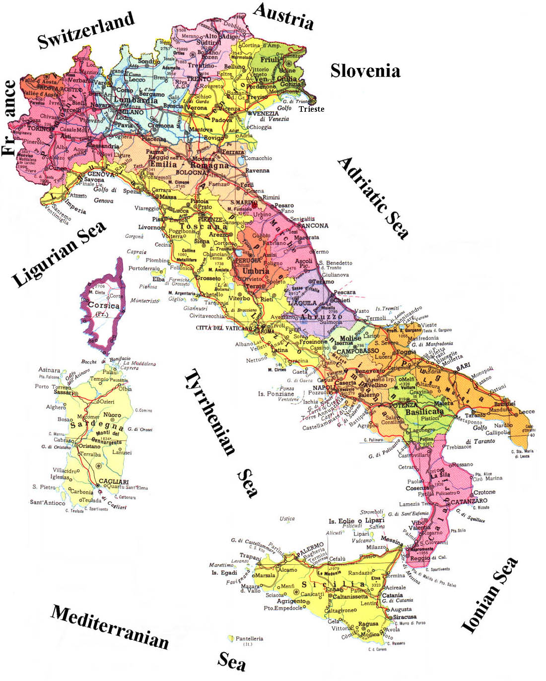 administrative map of italy with roads. maps of italy  map library  maps of the world