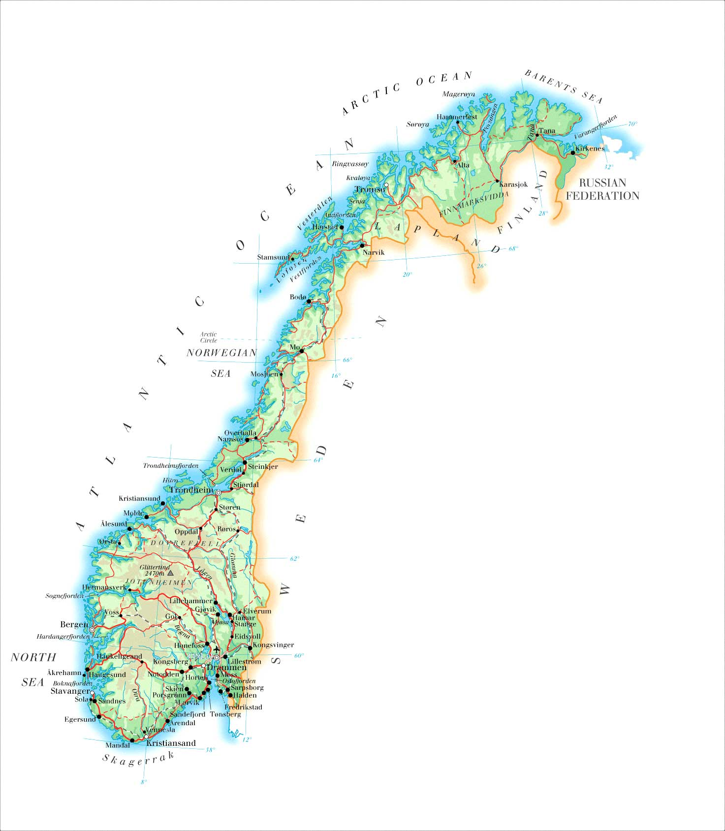 Maps Of Norway Map Library Maps Of The World - Norway map detailed