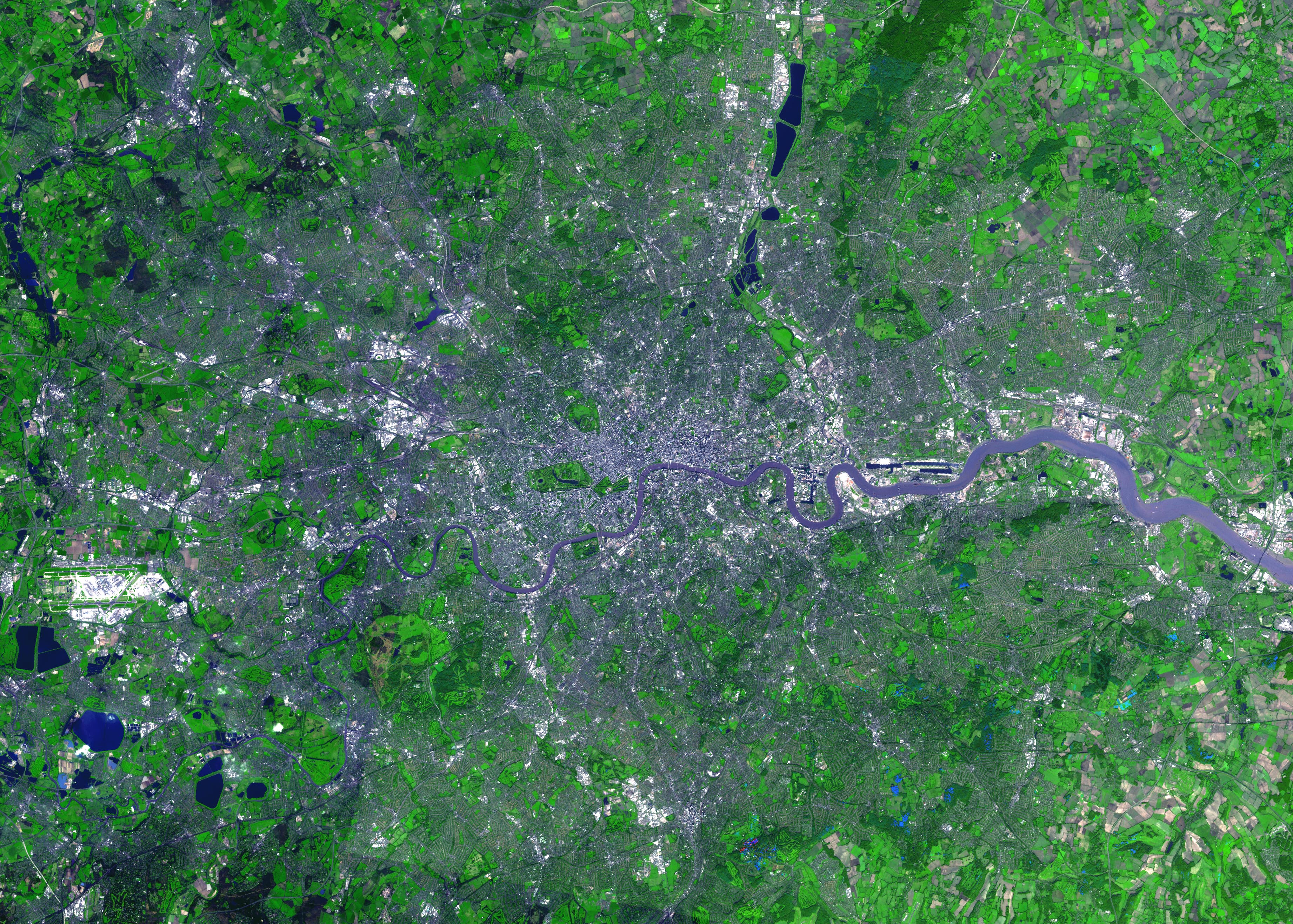 large detailed satellite map of london city