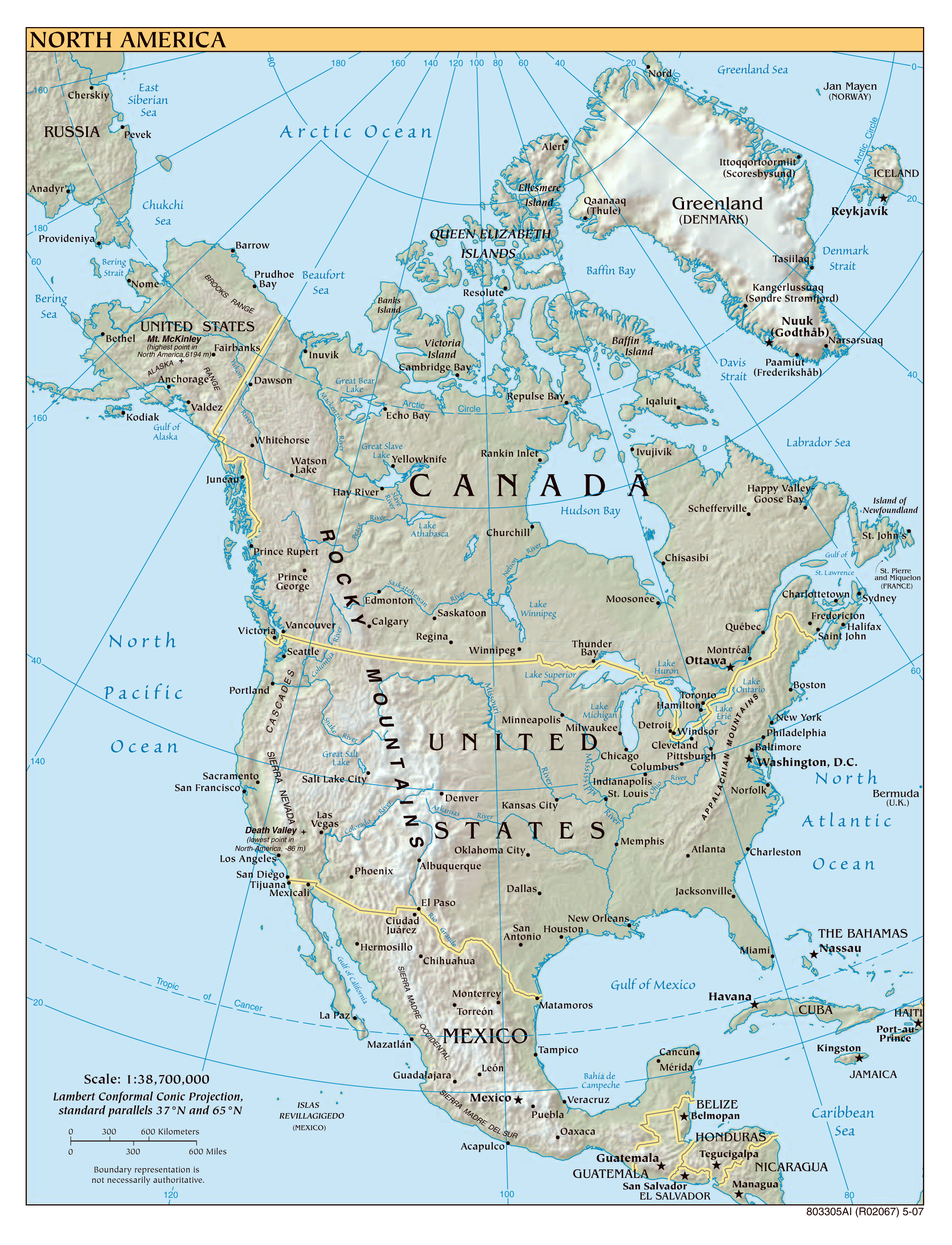 Maps of north america map library maps of the world north america large detailed political map with relief all capitals and major cities publicscrutiny Gallery