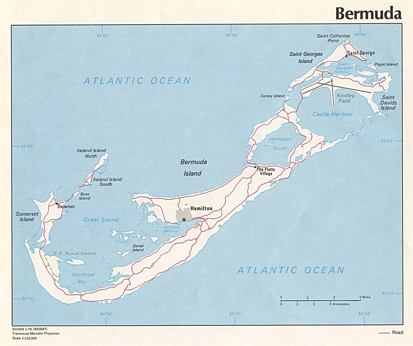 large detailed road map of bermuda
