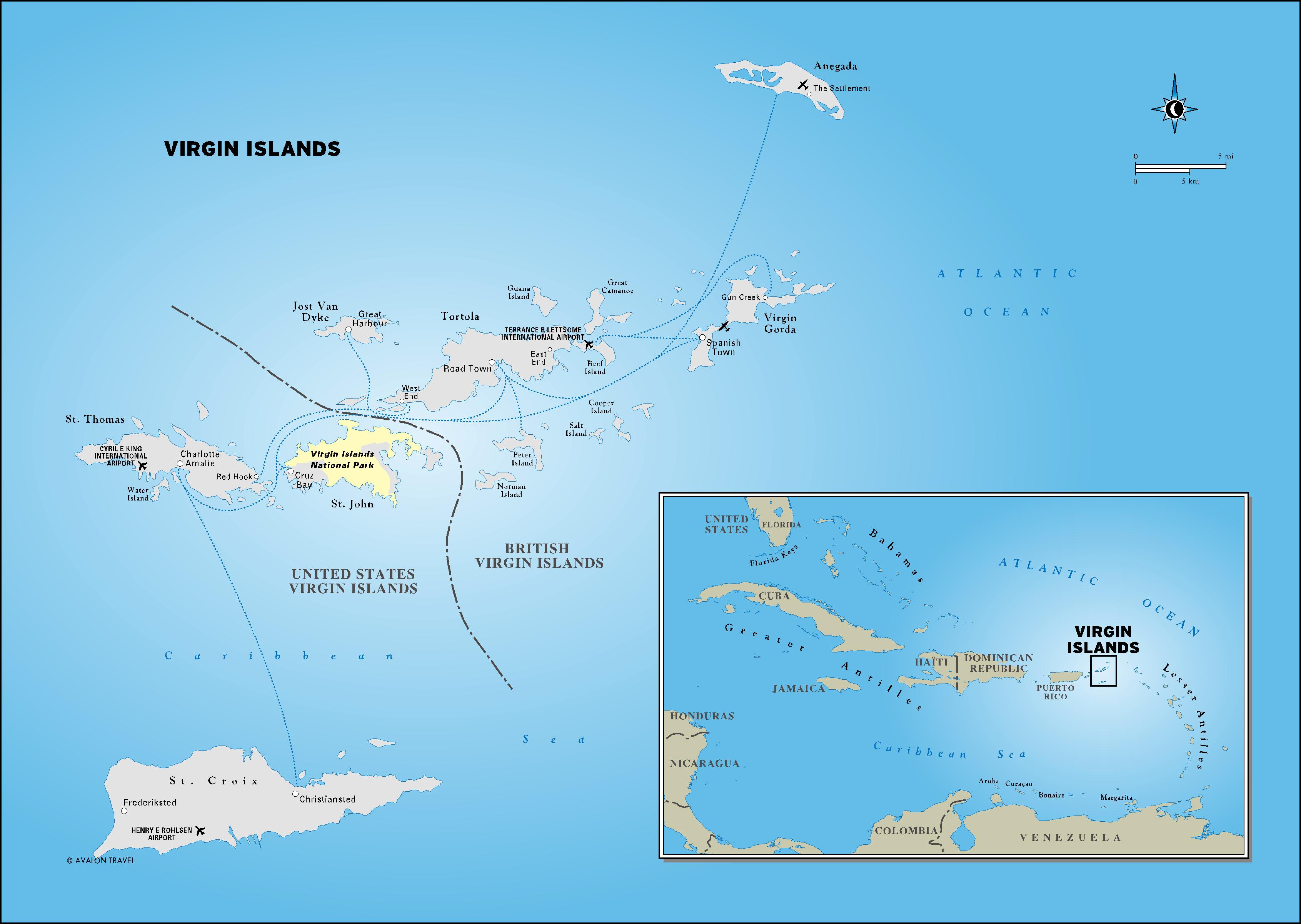 Printable Travel Maps Of The Virgin Islands Mooncom Map Of The - Us and british virgin islands map