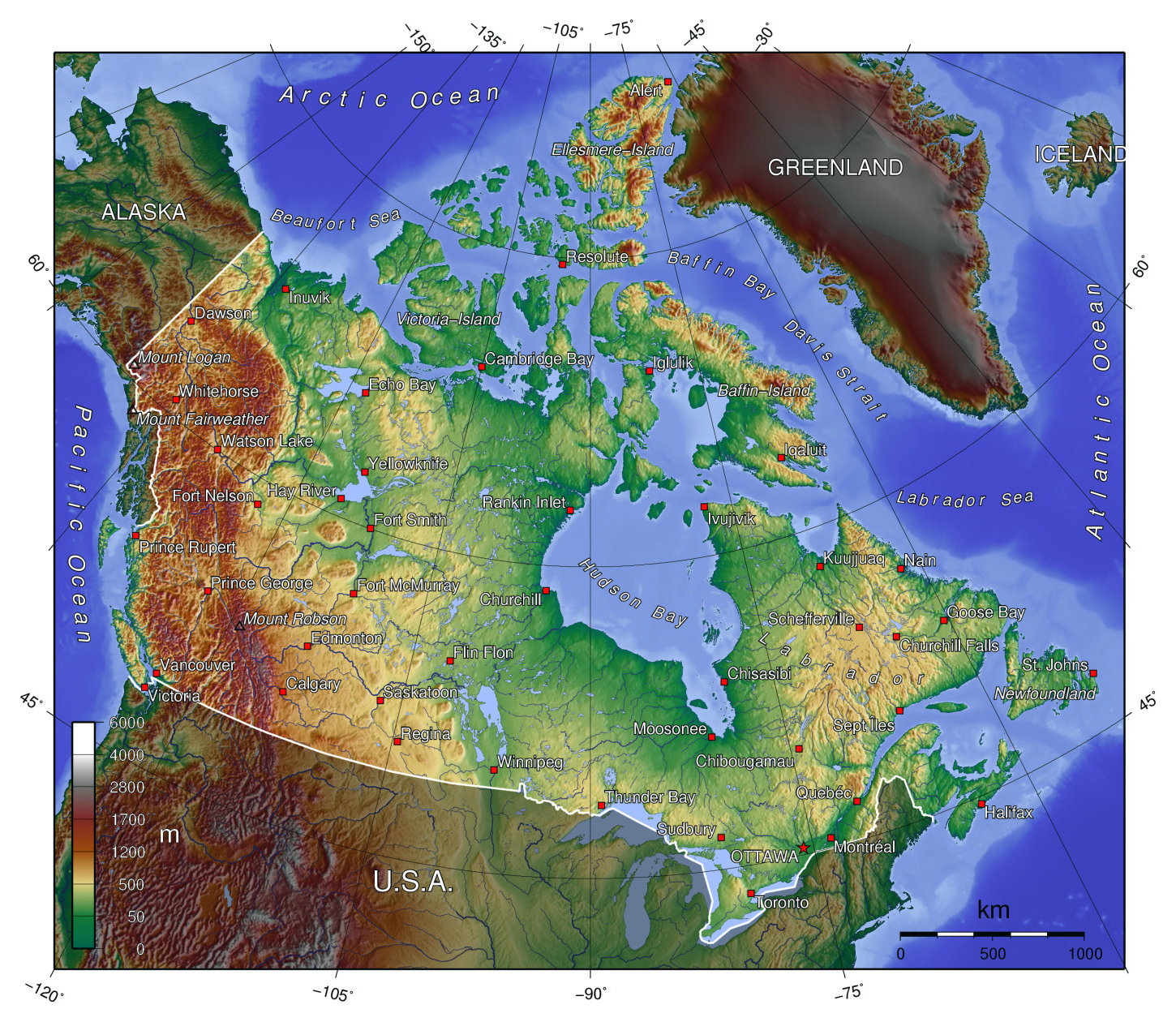 Maps Of Canada Map Library Maps Of The World - North america topographic map