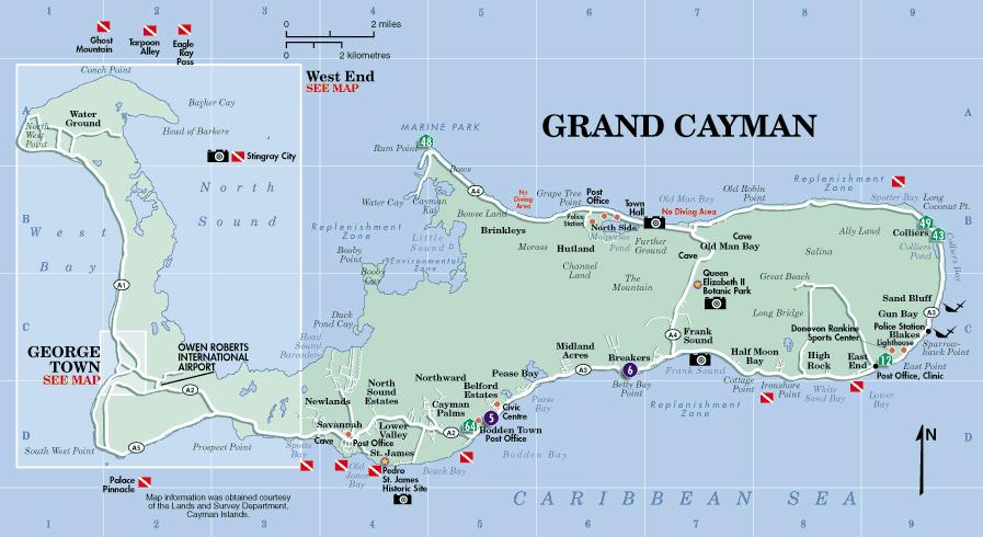 Map Of Cayman Islands Roads