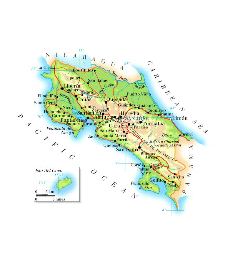 Maps Of Costa Rica Map Library Maps Of The World - Costa rica detailed map