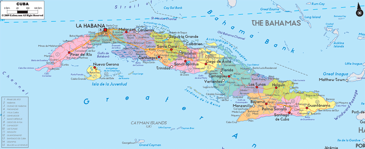 Maps of cuba map library maps of the world large detailed administrative map of cuba with cities and roads gumiabroncs Choice Image