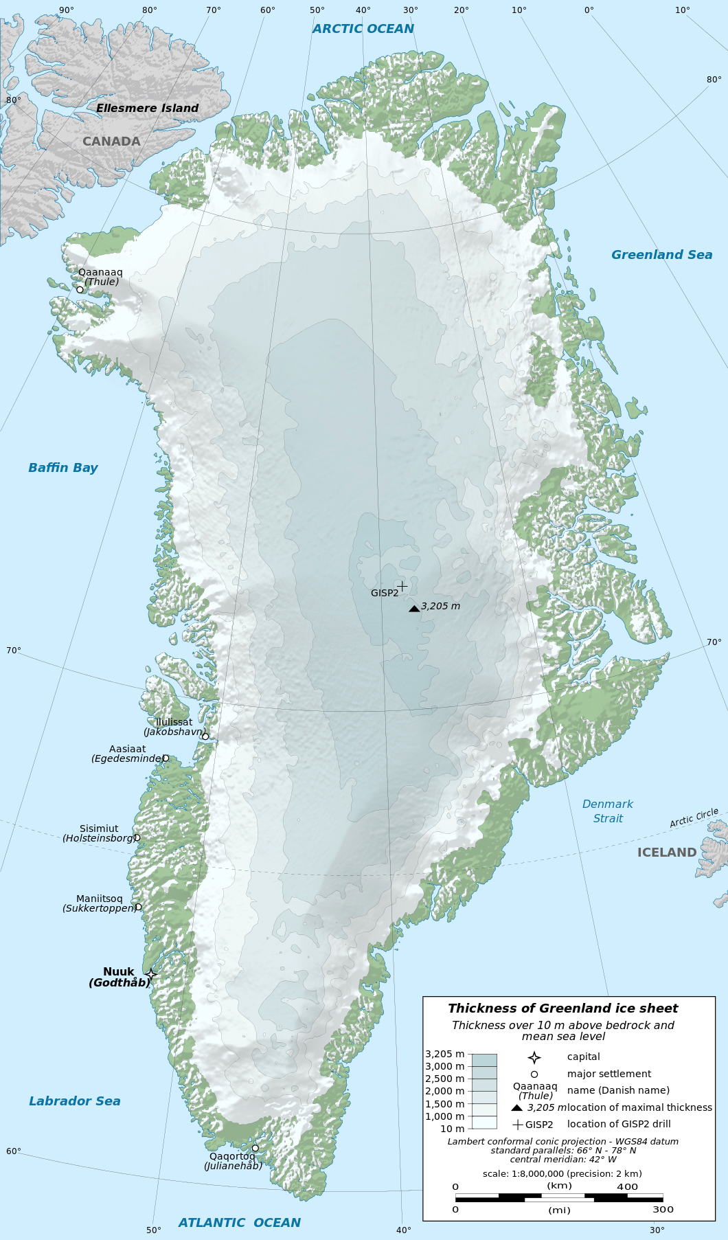 large detailed physical map greenland with cities