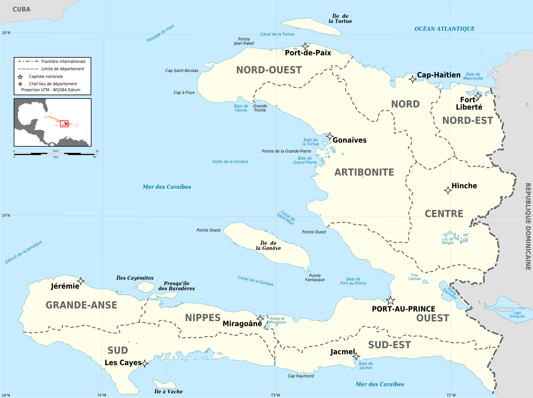 large detailed administrative and political map of haiti