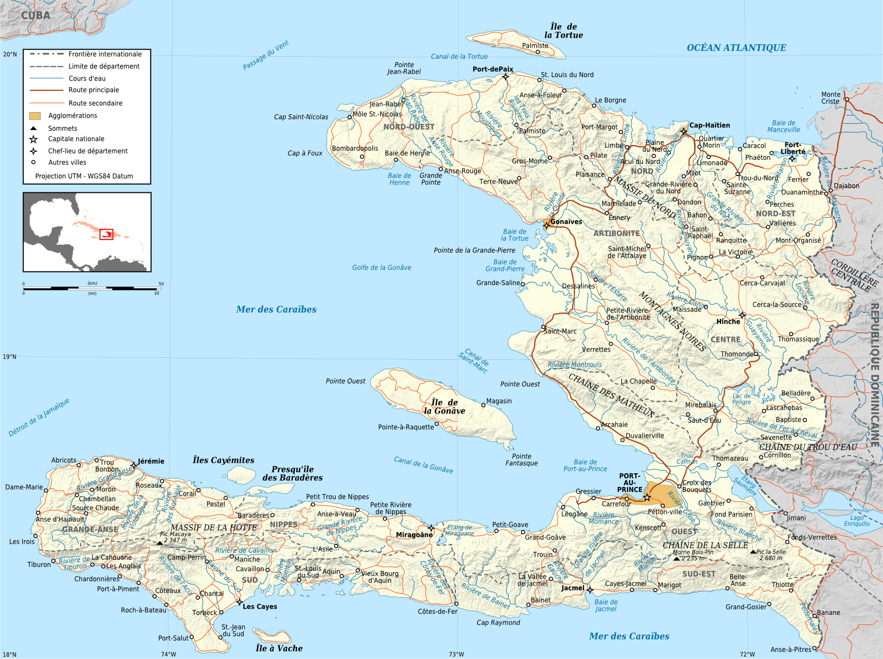 Maps of haiti map library maps of the world large detailed political and administrative map of haiti with relief roads and cities gumiabroncs Images