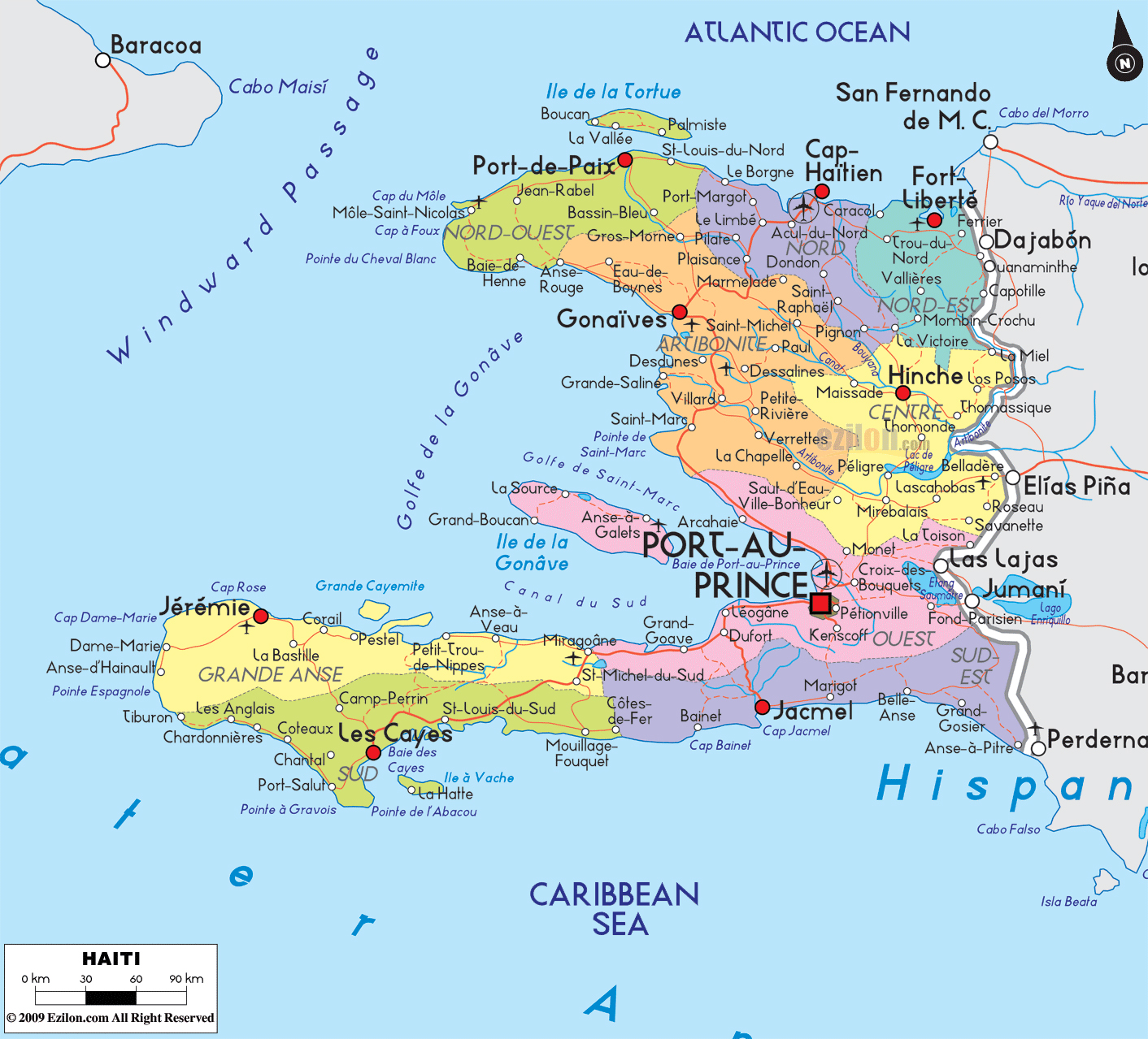 Maps of haiti map library maps of the world large detailed political and administrative map of haiti with roads and cities gumiabroncs Images