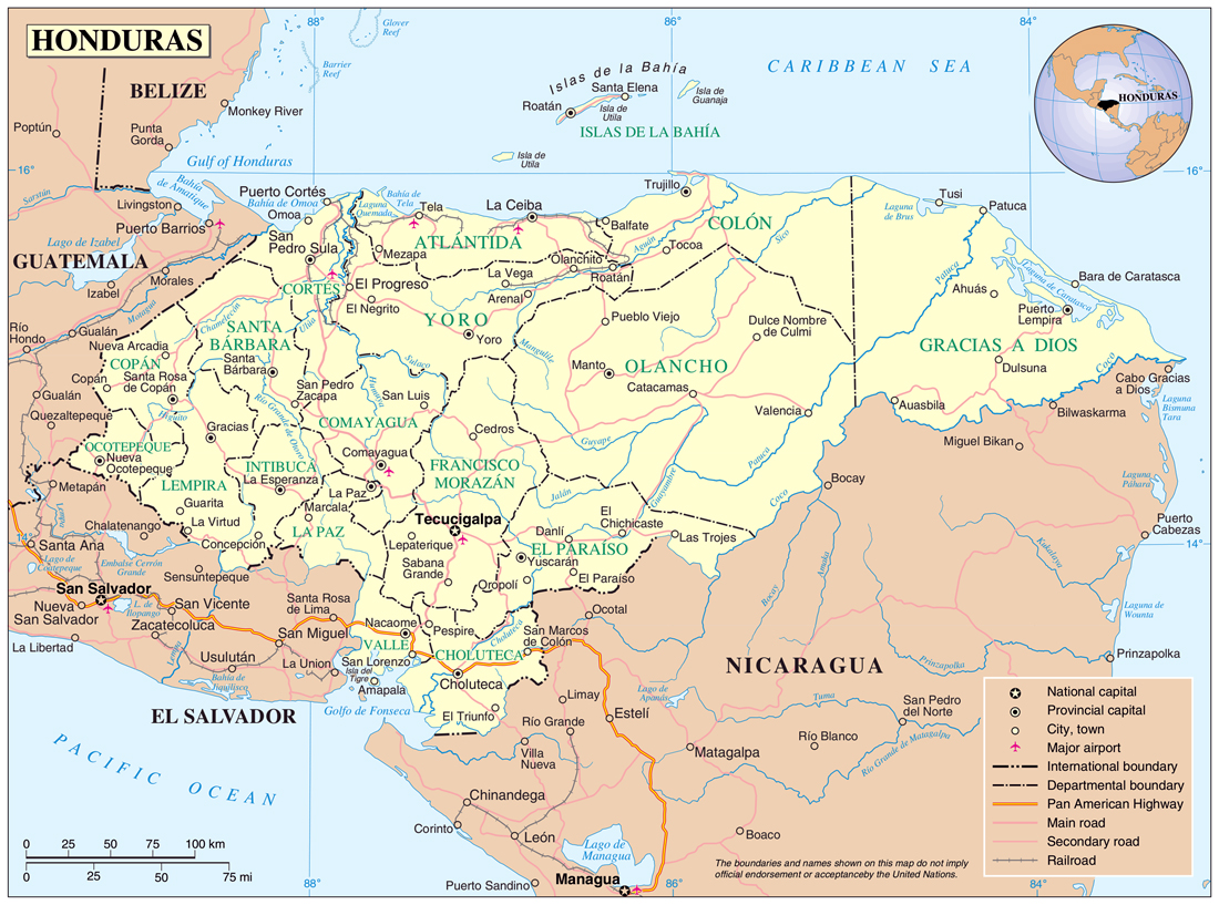 Maps of honduras map library maps of the world based administrative and political map of honduras gumiabroncs Gallery