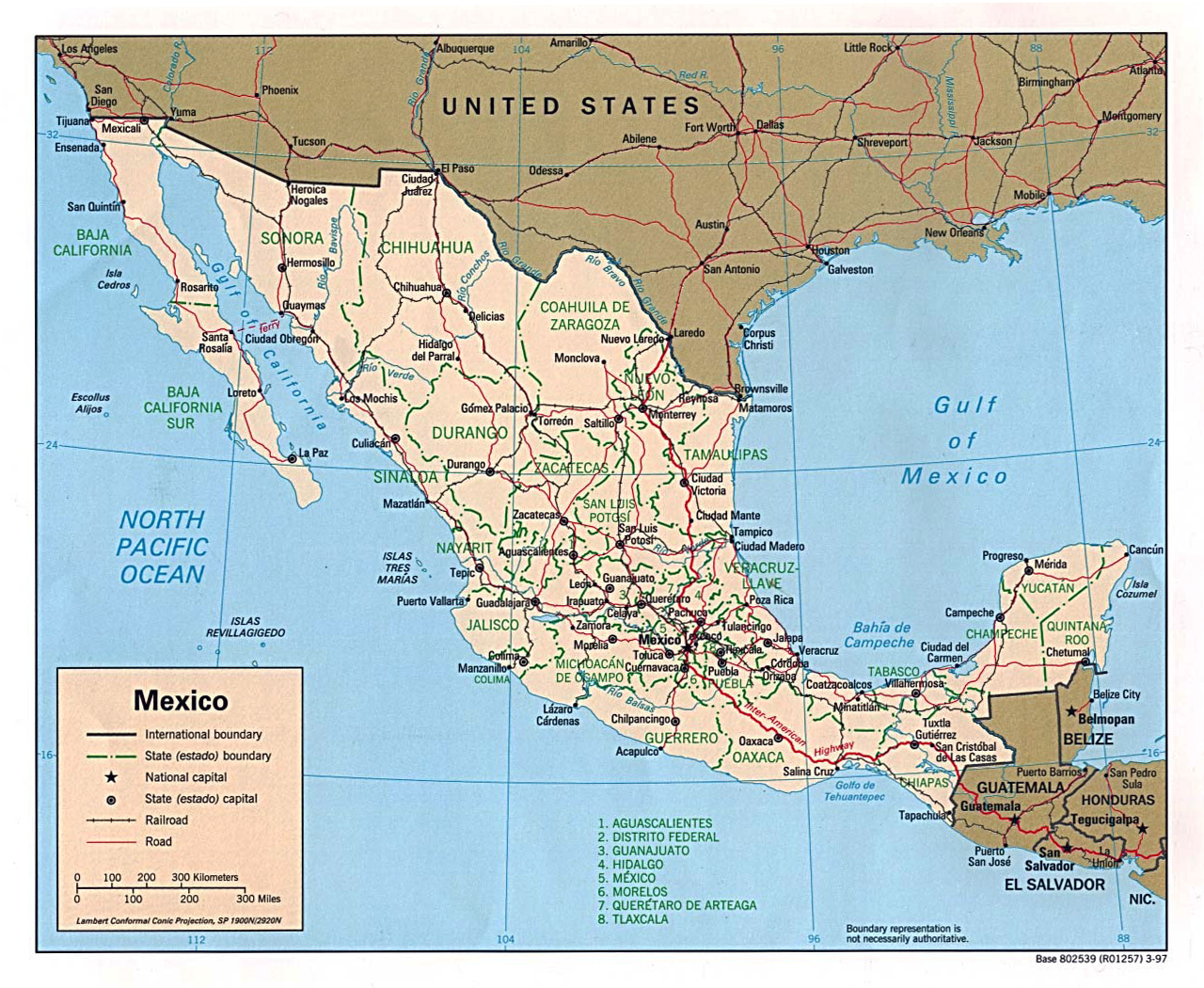 political and administrative map of mexico