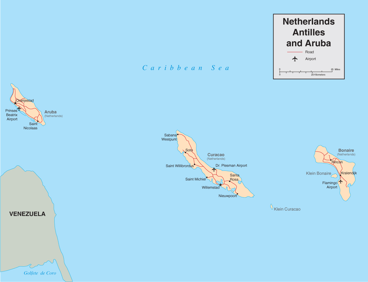 Maps of netherlands antilles map library maps of the world large detailed political map of netherlands antilles and aruba with roads and airports sciox Images
