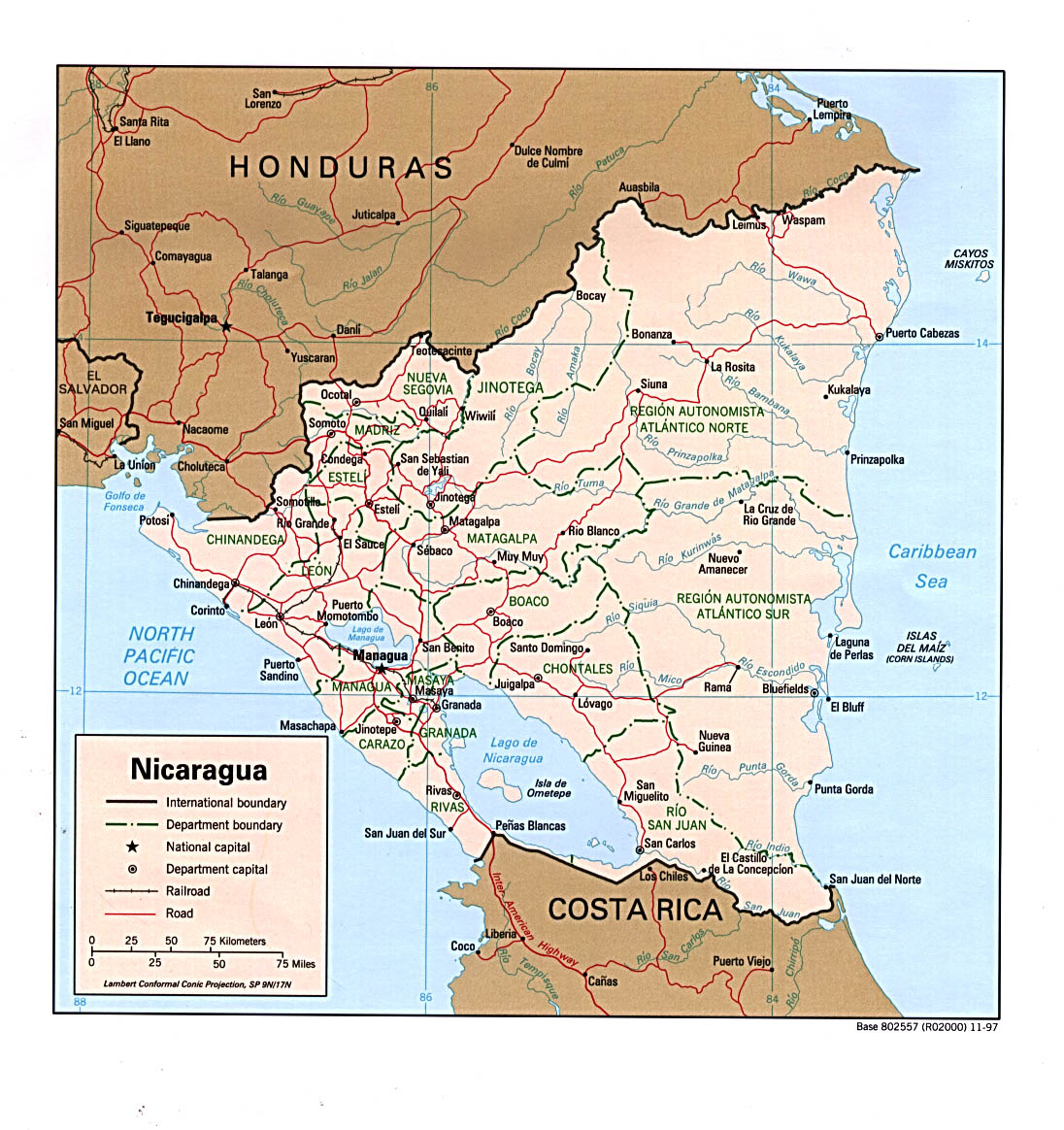 Maps of nicaragua map library maps of the world nicaragua large detailed political and administrative map gumiabroncs Gallery