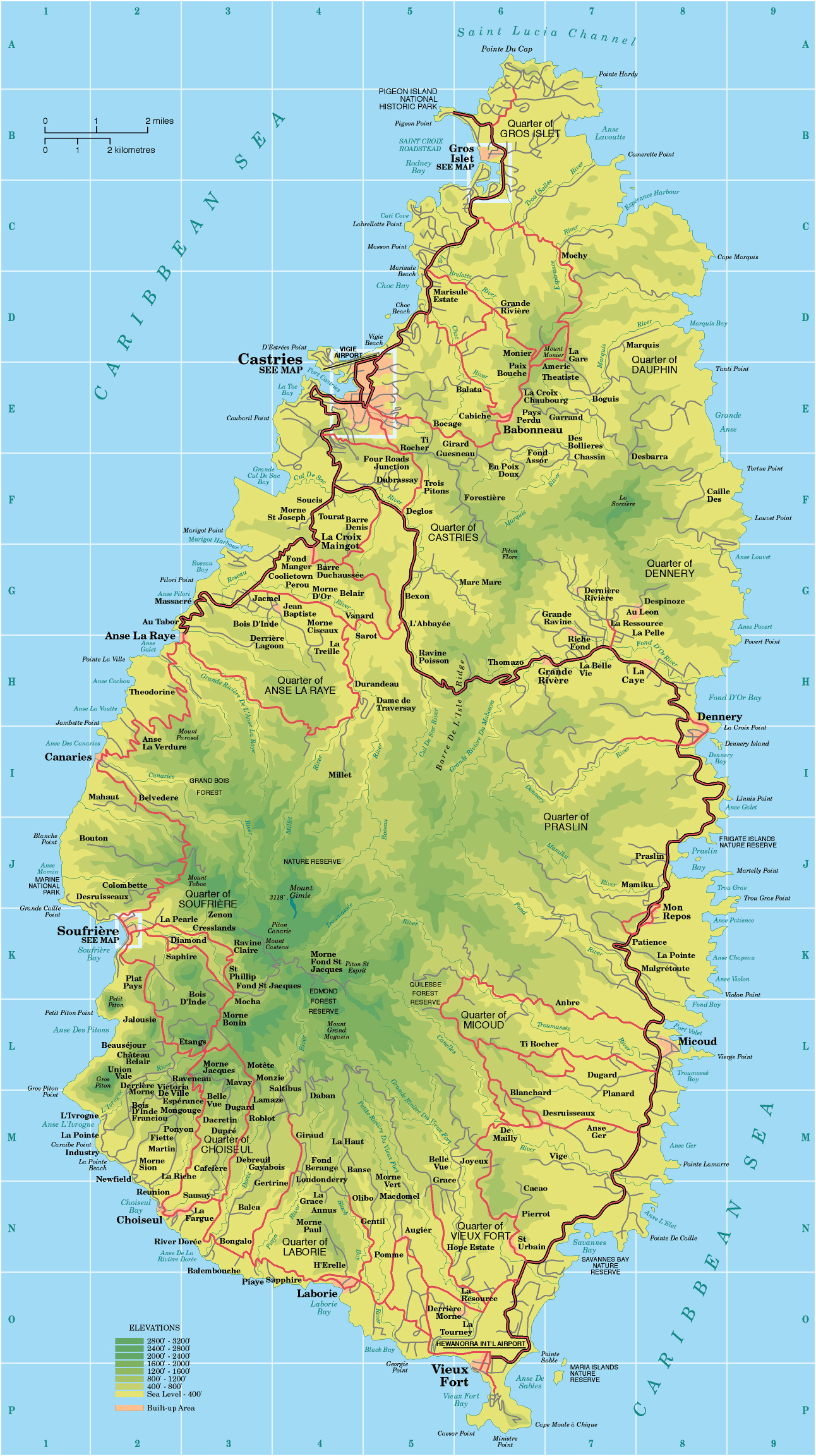 Maps Of Saint Lucia Map Library Maps Of The World
