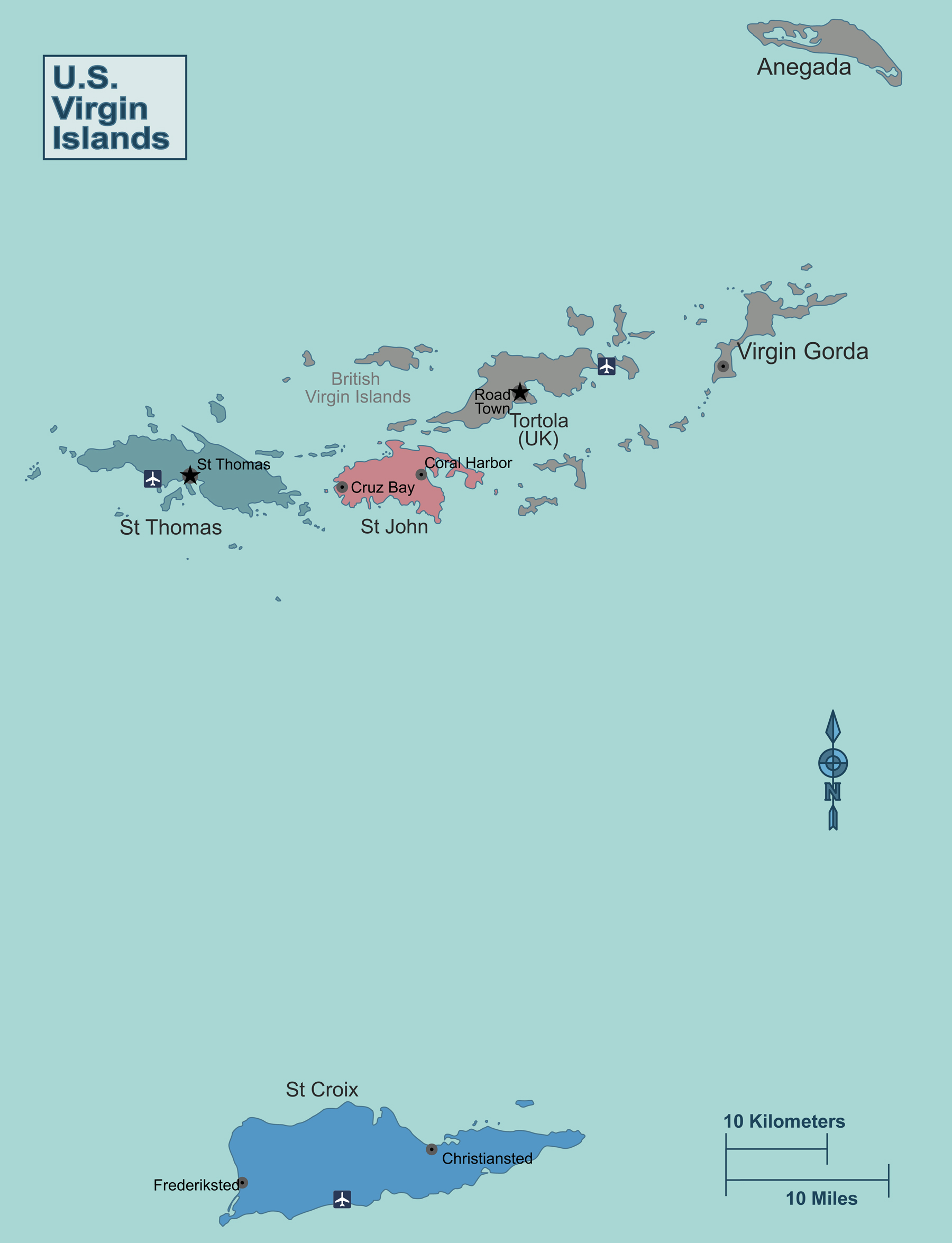 detailed political map of us virgin islands