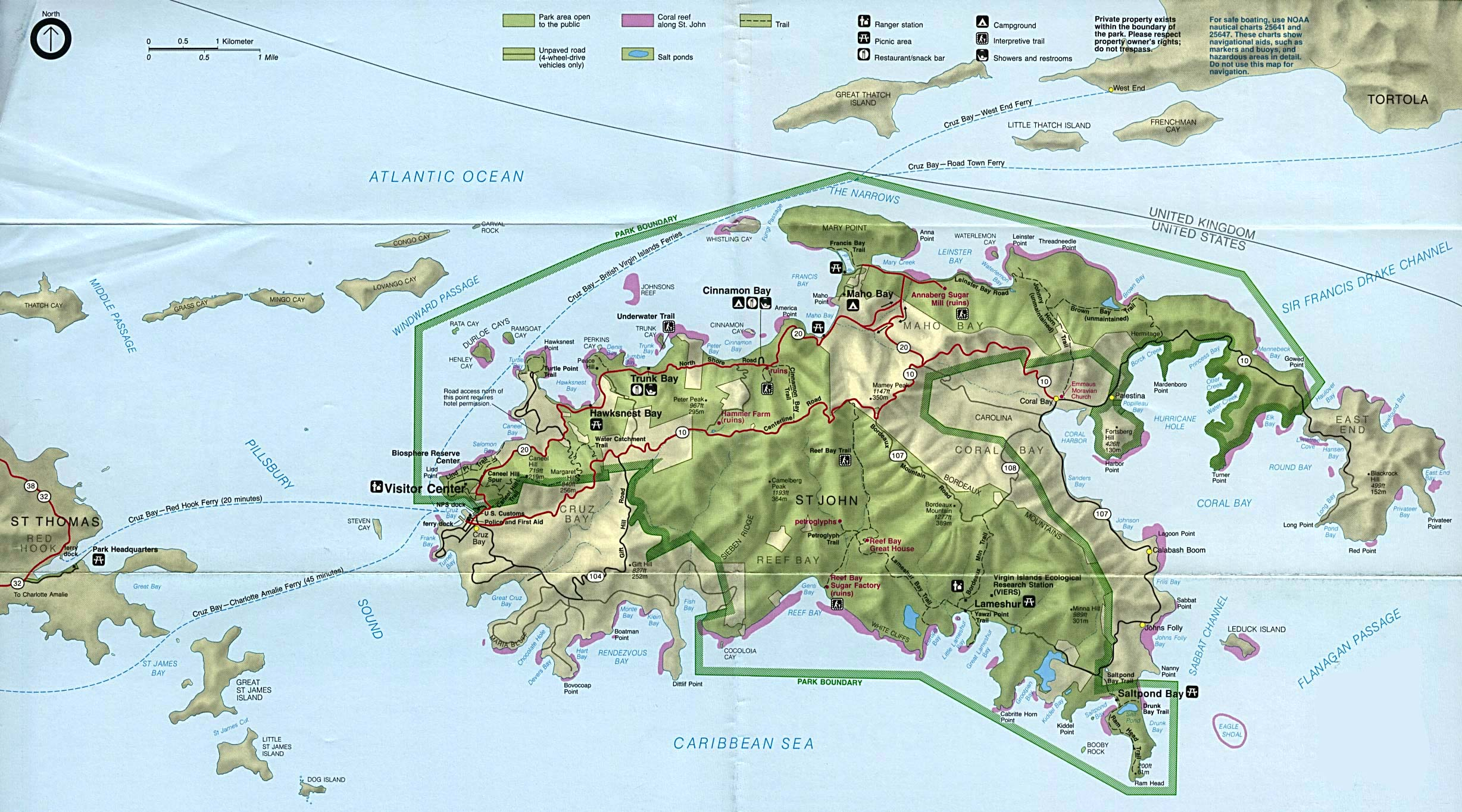 large detailed tourist and road map of st john island with relief
