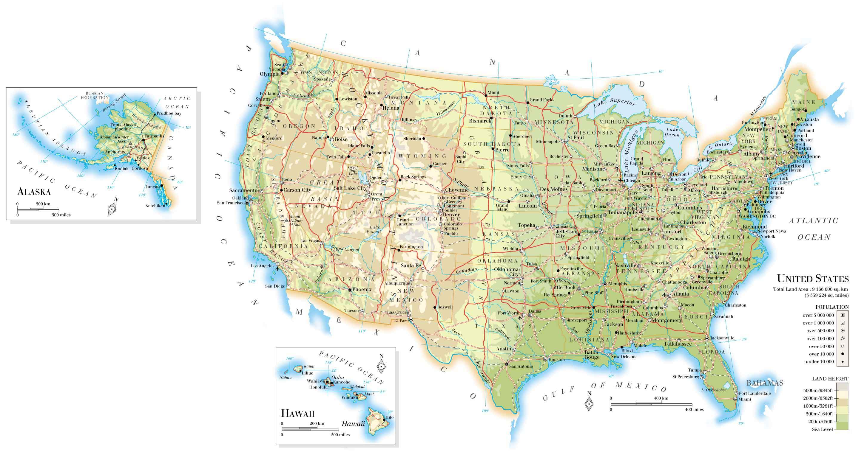Detailed usa map for United states of america cities