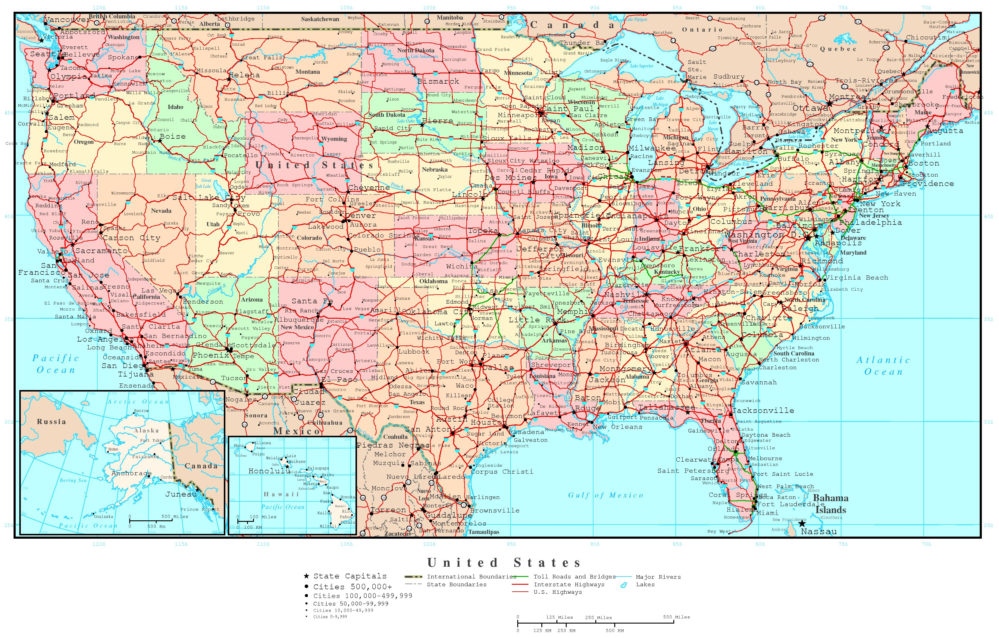Large Detailed Political And Administrative Map Of The USA With Roads And  Cities.